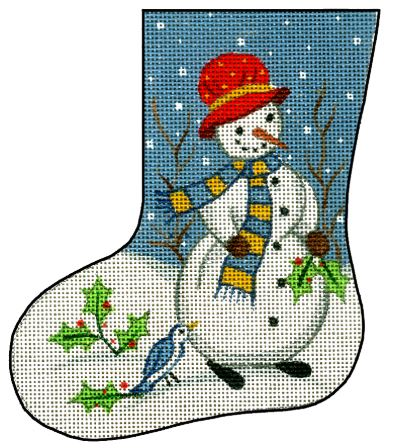 click here to view larger image of Mini Stocking - Snowman w/Holly (hand painted canvases)