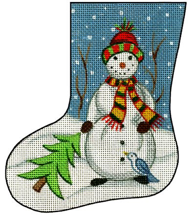 click here to view larger image of Mini Stocking - Snowman w/Tree (hand painted canvases)