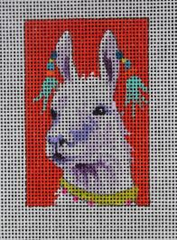 click here to view larger image of Luggage Tag - Llama (hand painted canvases)