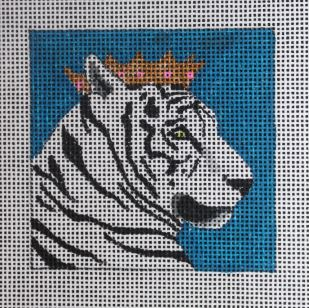 click here to view larger image of Insert - White Tiger w/Crown (hand painted canvases)