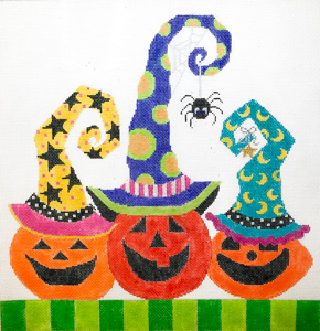 click here to view larger image of Pumpkin Party Trio - Spider (hand painted canvases)