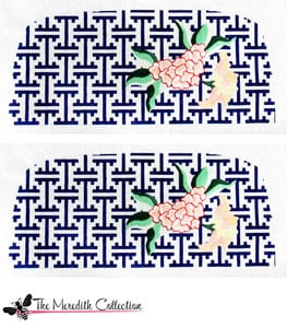 click here to view larger image of Adelaide Bag - Lattice with Flowers - Navy  (hand painted canvases)