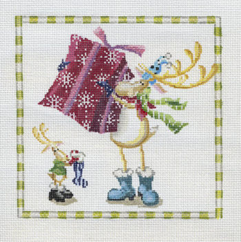 click here to view larger image of Reindeer Gifts (hand painted canvases)
