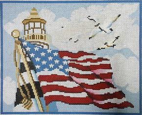 click here to view larger image of American Lighthouse (hand painted canvases)