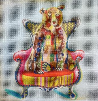 click here to view larger image of Bear in Chair (hand painted canvases)