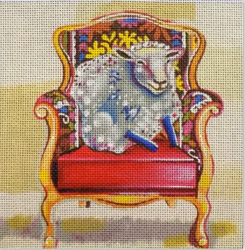 click here to view larger image of Sheep in Chair (hand painted canvases)
