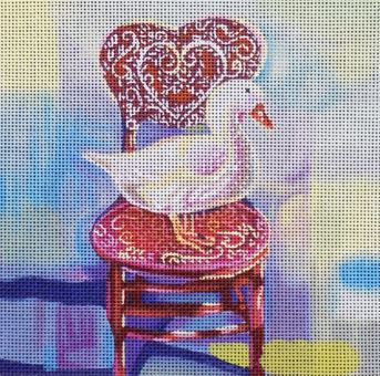 click here to view larger image of Goose in Chair (hand painted canvases)