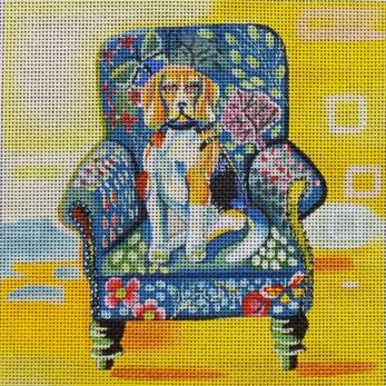 click here to view larger image of Beagle  in Chair (hand painted canvases)