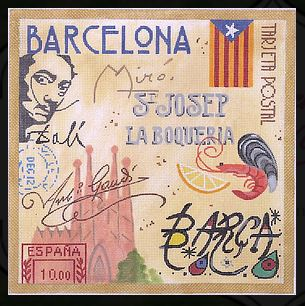 click here to view larger image of Barcelona Collage (hand painted canvases 2)