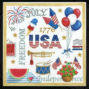 click here to view larger image of 4th of July Collage (hand painted canvases)