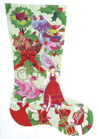click here to view larger image of 12 Days of Christmas Stocking (hand painted canvases)