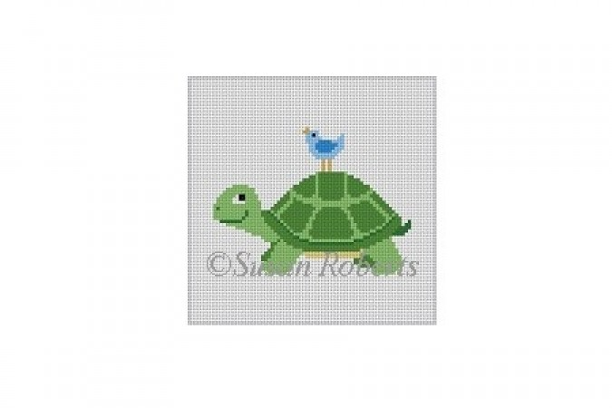 click here to view larger image of Turtle with Bird (hand painted canvases)