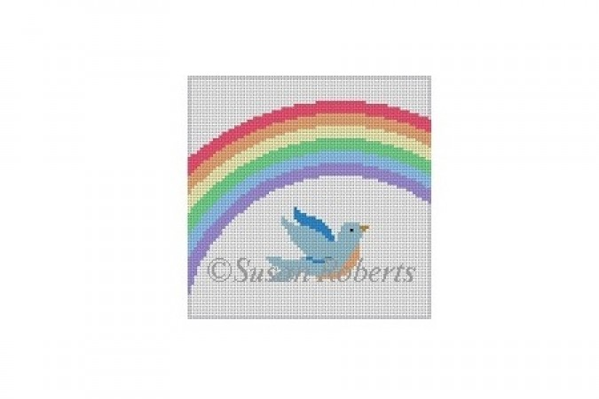click here to view larger image of Bluebird Rainbow (hand painted canvases)