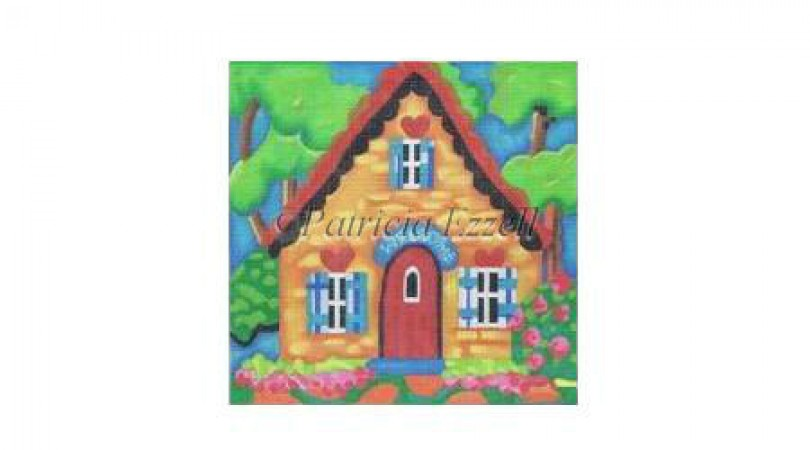 click here to view larger image of Orange Hearted Cottage  (hand painted canvases)