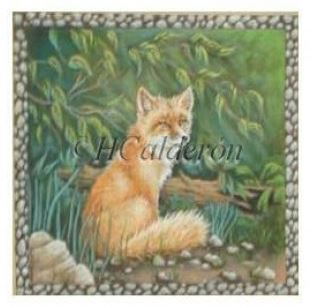 click here to view larger image of Sitting Fox (hand painted canvases)