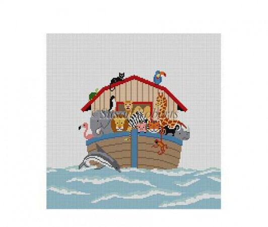click here to view larger image of Childs Seat - Noah's Ark  (hand painted canvases)