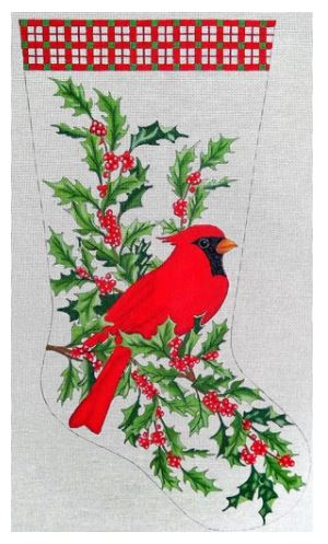 click here to view larger image of Cardinal Stocking  (hand painted canvases)
