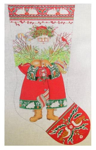 click here to view larger image of Woodland Santa Stocking  (hand painted canvases)