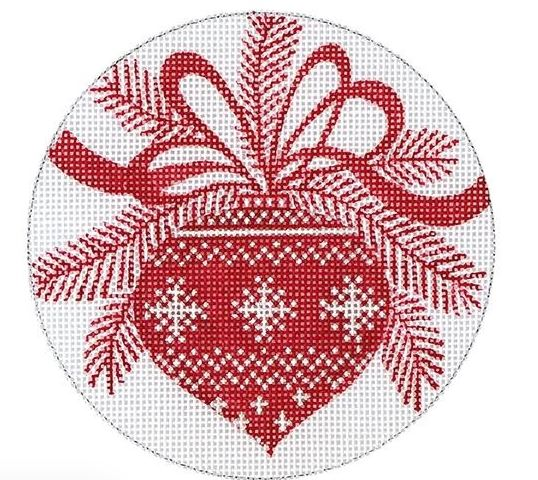 click here to view larger image of Red Ornament (hand painted canvases)