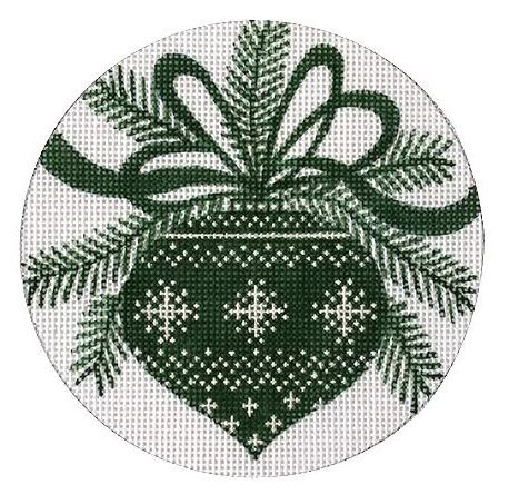 click here to view larger image of Green Ornament (hand painted canvases)