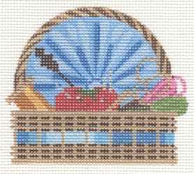 click here to view larger image of Sewing Basket Ornament (hand painted canvases)