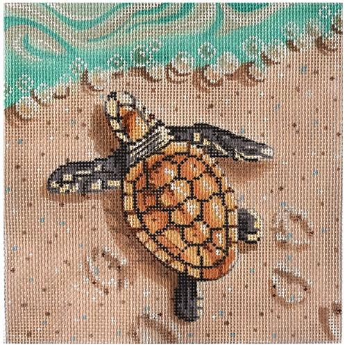 click here to view larger image of Baby Sea Turtle on Beach (hand painted canvases)