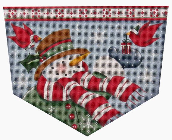 click here to view larger image of Cardinal Snowman Stocking Cuff (hand painted canvases)