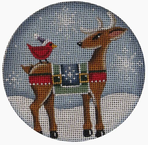click here to view larger image of Reindeer - Cardinal (hand painted canvases)