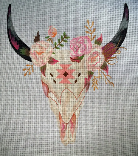 click here to view larger image of Cow Skull with Flowers (hand painted canvases)