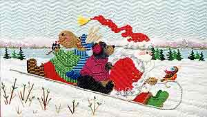 click here to view larger image of Winter Fun Santa and Friends (hand painted canvases)