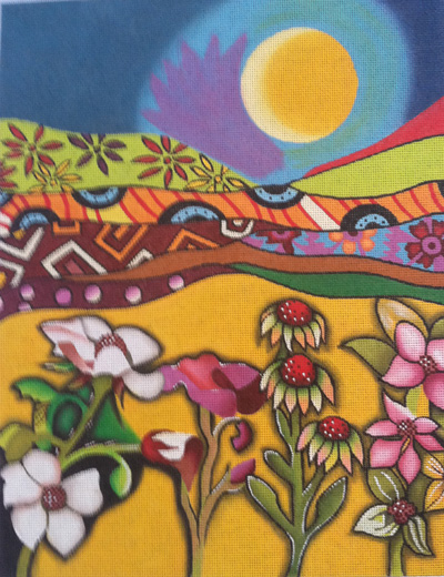 click here to view larger image of Open Land Golden Moon (hand painted canvases)