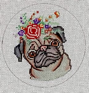 click here to view larger image of Confused Pug (hand painted canvases)
