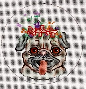 click here to view larger image of Happy Pug (hand painted canvases)