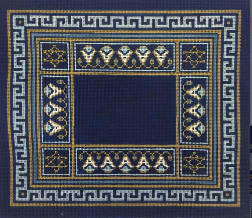 click here to view larger image of Blue Floral Geometric Tallis (hand painted canvases)