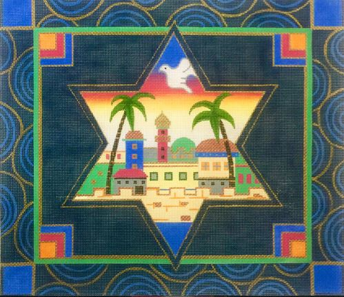 click here to view larger image of Jerusalem Star Tallis (hand painted canvases)