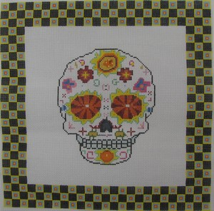 click here to view larger image of Day of the Dead Skull 1 w/Border (hand painted canvases)