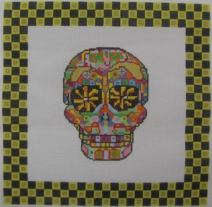 click here to view larger image of Day of the Dead Skull 3 w/Border (hand painted canvases)