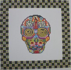 click here to view larger image of Day of the Dead Skull 2 w/Border (hand painted canvases)