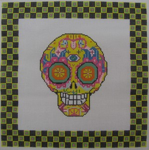 click here to view larger image of Day of the Dead Skull 4 w/Border (hand painted canvases)