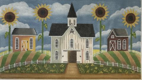click here to view larger image of Barns and Sunflowers  (hand painted canvases)