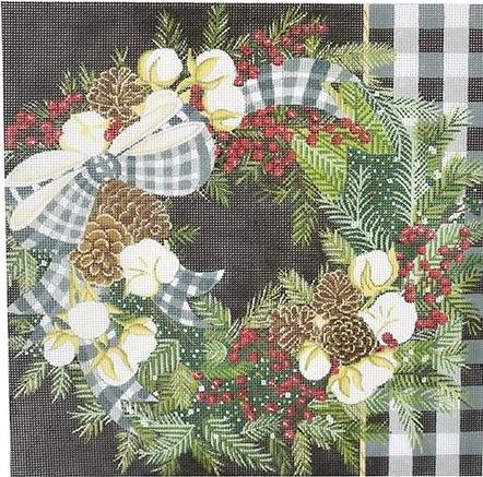 click here to view larger image of Gingham Bolls Wreath (hand painted canvases)