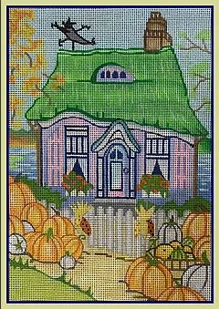 click here to view larger image of Pumpkin Cottage (hand painted canvases)