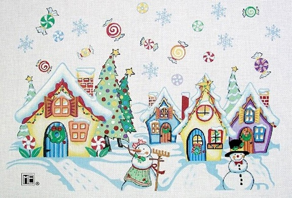 click here to view larger image of Snowman Village (hand painted canvases)