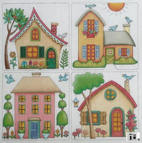click here to view larger image of Four Houses (hand painted canvases)