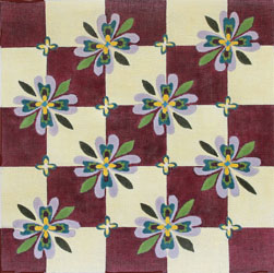 click here to view larger image of Floral Burgundy/Ecru (hand painted canvases)