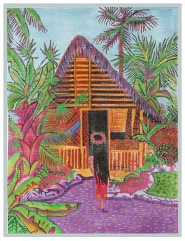 click here to view larger image of Tropical Island Hut (hand painted canvases)