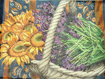 click here to view larger image of Basket of Sunflowers & Lavender (hand painted canvases)