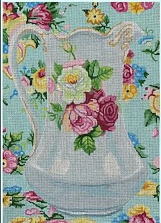 click here to view larger image of Antique Pitcher w/Roses (hand painted canvases)