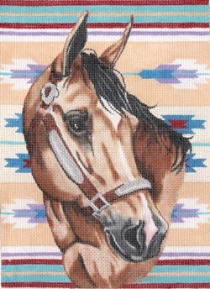 click here to view larger image of Bridled Horse with Blanket (hand painted canvases)