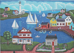 click here to view larger image of Seaside Panorama (hand painted canvases)